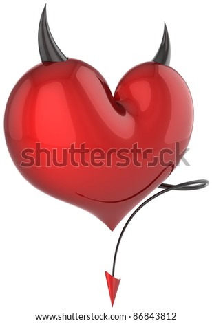 Devil heart red with black sharp horns and a tail. Fateful love abstract. Lover trap concept. Valentines day holiday symbol. Detailed 3d render. Isolated on white background - stock photo