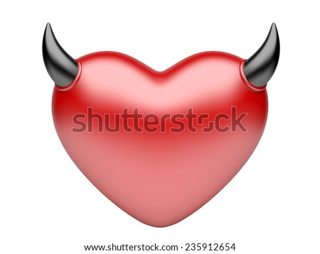 Devil hearts. lover concept. 3d image isolated on a white background - stock photo