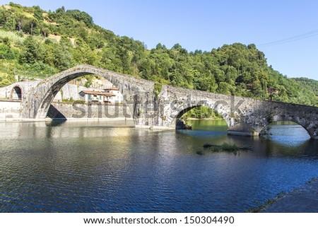 Devil's Bridge in Lucca, Italy - stock photo