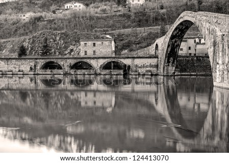 Devil's Bridge, Ponte della Maddalena - Tuscany - stock photo