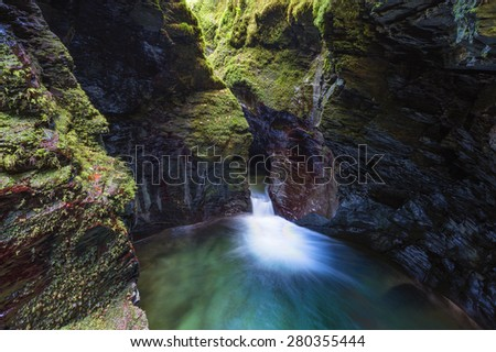 Devil's Cauldron in Lydford Gorge, near Tavistock, Devon, UK  - stock photo
