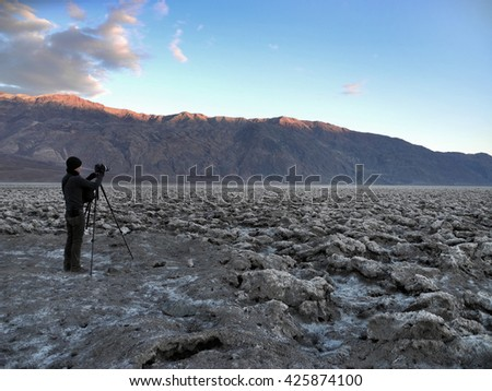 Devil's Golf at Nevada, California, USA..The Death Valley salt pan is one of the largest protected salt pans in North America. - stock photo