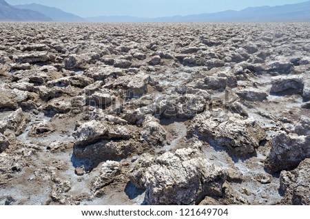 Devil's Golf Course, deserted view in Death Valley, California - stock photo