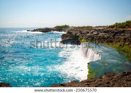 Devil's tears cliffs at Nusa Lembongan island, Indonesia - stock photo