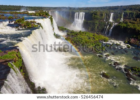 Devil's Throat (Garganta del Diablo) is the biggest of the Iguazu Waterfalls. Located on the Iguazu River on the border of the Argentina and the Brazil.