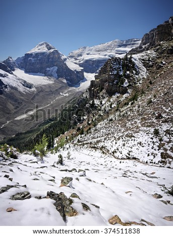 Devil's Thumb Hike, Scramble Mount Lefroy (left), Mount Victoria (right) Lake Louise, Banff National Park, Alberta, Canada Picture taken on August 22, 2015 - stock photo