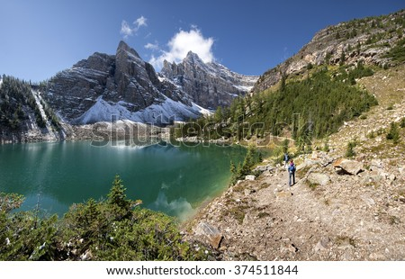 Devil's Thumb (left) Hike, Scramble, Lake Agnes Lake Louise, Banff National Park, Alberta, Canada Picture taken on August 22, 2015 - stock photo