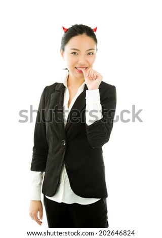 Devil side of a young Asian businesswoman biting her nails isolated on white background - stock photo