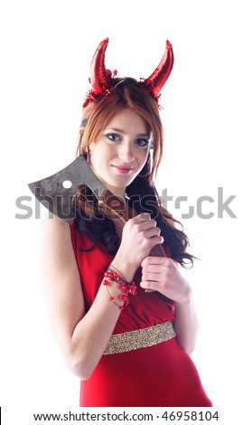 devil-woman - cute young pretty girl in red dress with red horns