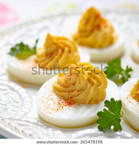 Deviled eggs with smoked paprika for Easter - stock photo