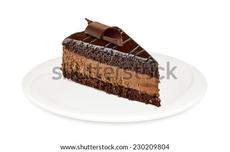 Devils cake with chocolate curl in plate on white background