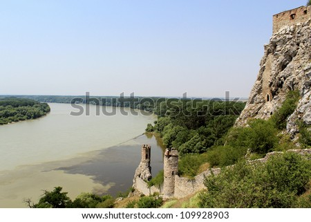 Devin castle Towers, View to Danube and Morava Rivers (near Bratislava at the border with Austria). Slovak Republic