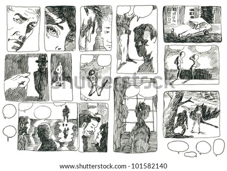 DEVISED COMIX STORYBOARD. Pictures on the classic comix theme. (Original cartoon figures and pictures - drawn with black marker.) - stock photo