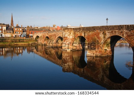 Devorgilla Bridge crossing the River Nith in Dumfries - stock photo