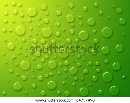 dew drops on the green background - stock photo