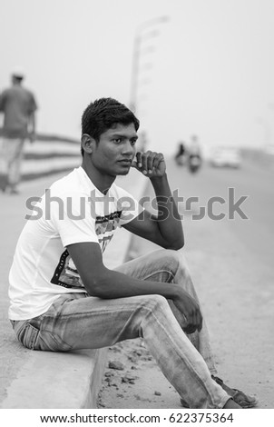 DHAKA, BANGLADESH - APRIL 15, 2017: A handsome Bangladeshi male posing in front of the camera