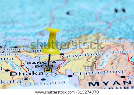 Dhaka pinned on a map of Asia  - stock photo