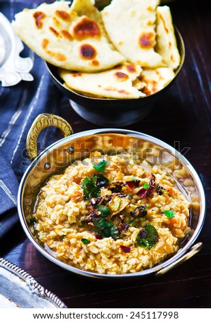dhal with pumpkin. Indian cuisine selective focus. the image is tinted - stock photo