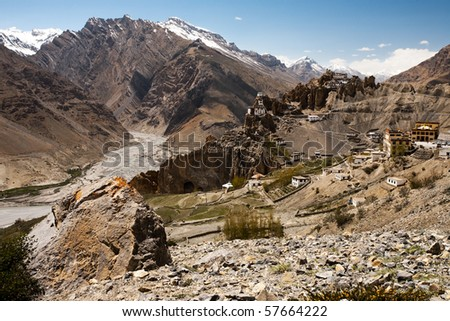 Dhankar cliff monastery landscape in Spiti Valley amongst the Himalayan mountain range during the daytime in off the beaten path, Himachal Pradesh, northern India. Horizontal