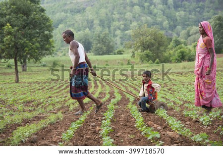 DHARNI, MAHARASHTRA, INDIA - JULY 9 :Unidentified Korku tribe people at their village, Korku tribe is scheduled tribe community found in the Madhya Pradesh and Melghat region of Maharashtra in India.