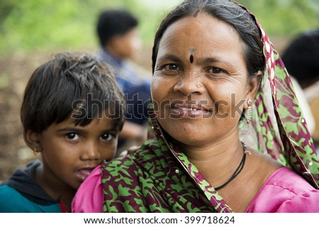 DHARNI, MAHARASHTRA, INDIA - JULY 9 :Unidentified Korku tribe people at their village, Korku tribe is scheduled tribe community found in the Madhya Pradesh and Melghat region of Maharashtra in India. - stock photo