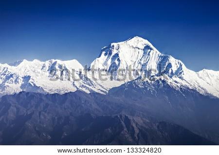 Dhaulagiri mountain at the sunrise, Himalaya - stock photo