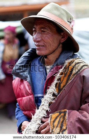 DHO TARAP, NEPAL - SEPTEMBER 10: An unidentified Tibetan drover during the local Dho Tarap Full Moon Festival on September 10, 2011 in Dho Tarap Village, Dolpo district, Nepal