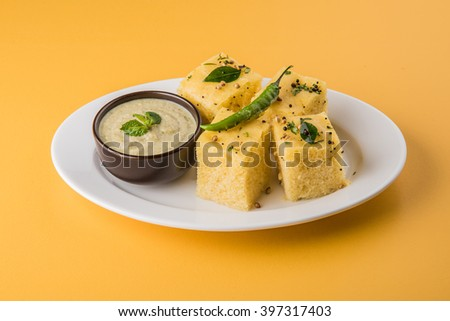 Dhokla / Indian savory snacks made of chick pea flour, selective focus