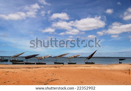 Dhow boats in Arab style in the bay of Inhambane, Mozambique. - stock photo