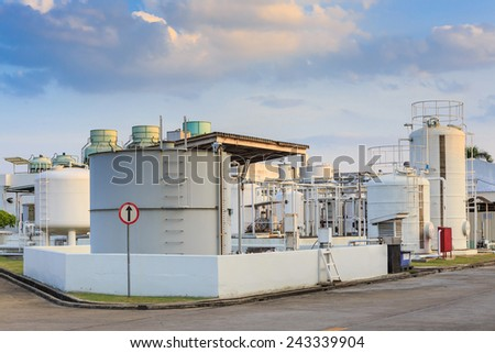 Di water and oil tank for factory - stock photo