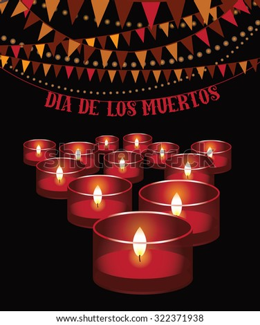 Dia de los Muertos - Mexican Day of the dead red candles and bunting background. illustration for holidays, religion, greeting card, advertising, social media, blog, marketing - stock photo