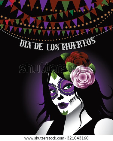 Dia de los Muertos - Mexican Day of the dead woman wearing sugar skull makeup bunting background. illustration for holidays, religion, greeting card, advertising, social media, blog - stock photo