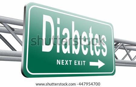 Diabetes find causes  and sceen for symptoms of type 1 or 2 prevention by dieting or treath with medication, 3D illustration isolated on white. - stock photo