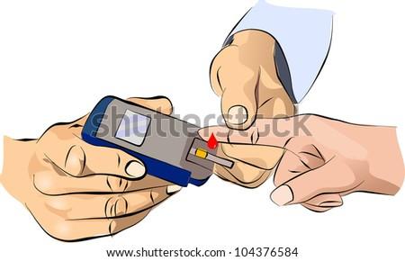 Diabetes measurement glucose sugar level blood test for diabetic patient - stock photo