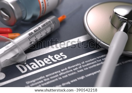Diabetes - Medical Concept on Grey Background with Blurred Text and Composition of Pills, Syringe and Stethoscope. 3D Render. - stock photo