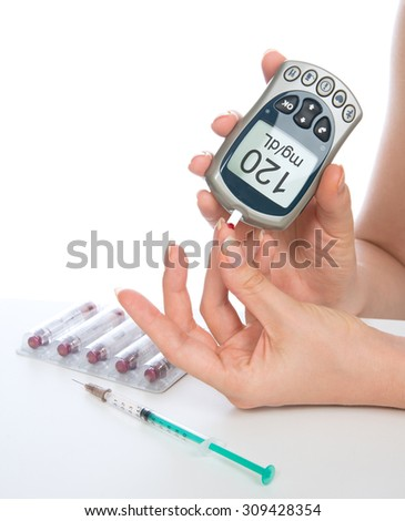 Diabetes patient measuring glucose level blood test with glucometer  from finger  on a white background - stock photo