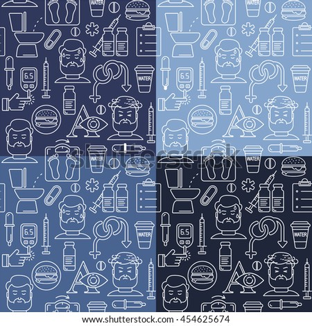 Diabetes symptoms and control  line style seamless background. Frequent urination, blurry vision, sexual problems, high blood sugar, hungry, linear illustration. Diabetic white icons on blue.