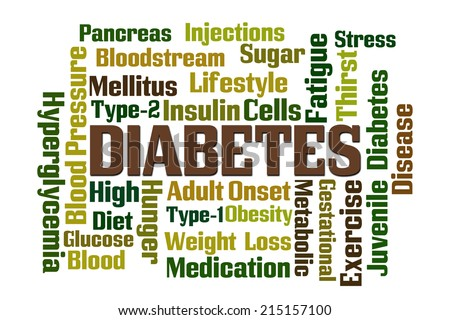 Diabetes word cloud on white background - stock photo