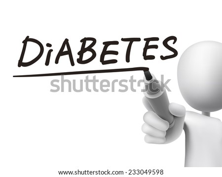 diabetes word written by 3d man over transparent board - stock photo