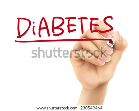 diabetes word written by hand on a transparent board - stock photo