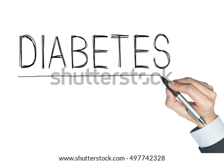 diabetes written by hand, hand writing on transparent board, photo