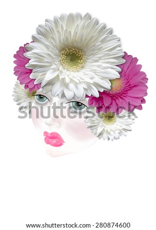 Diadem of colored flowers daisies on her head girl  - stock photo