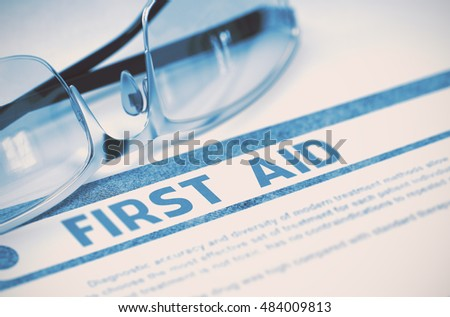 Diagnosis - First Aid. Medical Concept on Blue Background with Blurred Text and Pair of Spectacles. Selective Focus. 3D Rendering.
