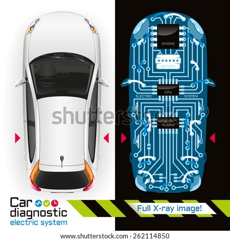 Diagnosis of electrical components of the car in the form of printed circuit board is illuminated by X-rays. - stock photo