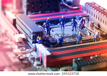 Diagnosis of motherboard. Technology concept. Macro photography - stock photo