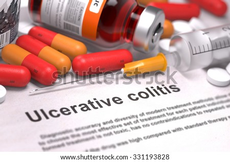 Diagnosis - Ulcerative Colitis. Medical Report with Composition of Medicaments - Red Pills, Injections and Syringe. Selective Focus. - stock photo