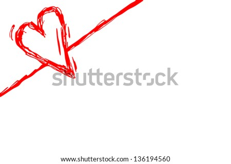 diagonal love heart, red