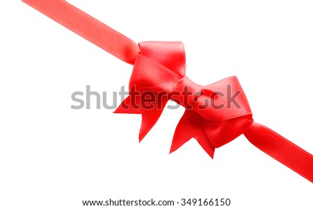 Diagonal ribbon with bow, isolated on white