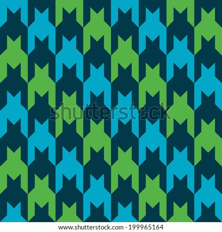 Diagonal striped houndstooth pattern in blue, dark blue and green. - stock photo