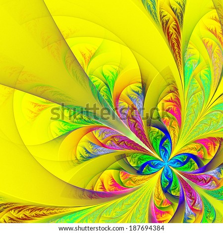 Diagonal symmetric multicolor fractal tracery. Collection - frosty pattern. On yellow. - stock photo